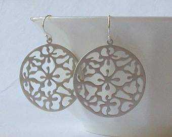 Matte Silver Filigree Dangle Earrings