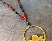 Circle Flower Pendant Necklace with Green Yellow Orange Enamel and Accent Beading
