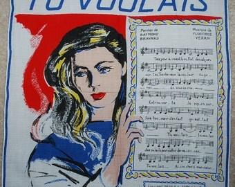 Vintage 1950s Parisian Handkerchief-TU VOULAIS