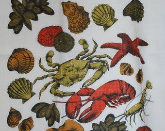Vintage Kitchen Towel-Lobsters, Crabs, Mussles, Clams and Shrimp New England Beach