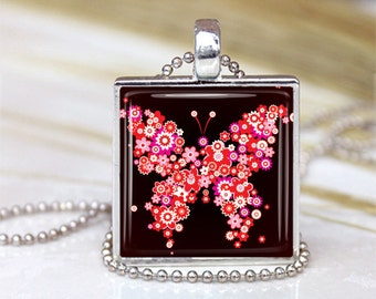 Butterfly Glass Pendant, Red Butterfly Charm,Butterfly Jewelry , Red white  jewelry, FlowersPendant