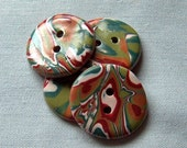 Copper, Red and Green Mokume Gane Buttons  No. 220