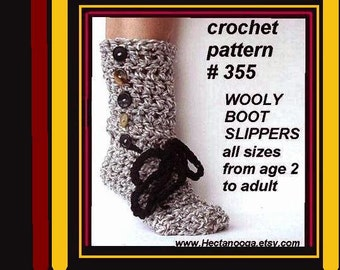 CROCHET Pattern SLIPPERS, WOOLY Boot Slippers num. 355 all sizes from age 1 to adult Permission to sell your finished slippers.