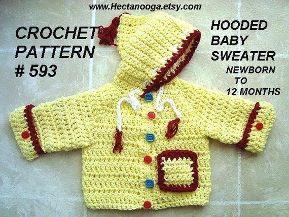 Free Crochet Patterns For Baby Hoodies : Crochet Baby Cardigan Sweater PATTERN Hoodie Sweater
