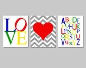 Nursery Playroom Trio - Love Typography, Chevron Heart, Modern Alphabet - Set of Three 8x10 Prints - CHOOSE YOUR COLORS