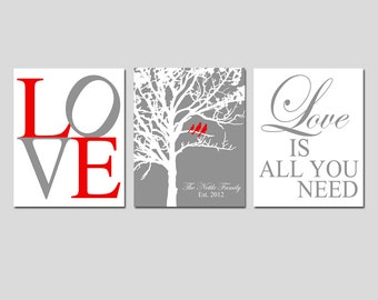 Family Love - Lovebird Wedding Tree, Love Is All You Need Quote, Family Tree - Set of Three 8x10 Prints - GREAT WEDDING GIFT