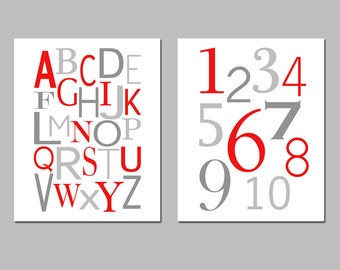 Red Gray Nursery Art Alphabet and Numbers - Set of Two 8x10 Prints - Kids Wall Art - Educational - CHOOSE YOUR COLORS