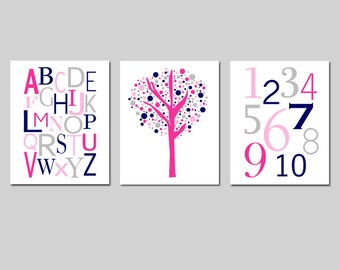 Kids Wall Art Trio - Set of Three 11x14 Nursery Prints - Modern Alphabet, Numbers, Tree Dot - CHOOSE YOUR COLORS