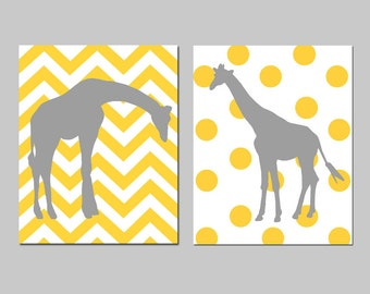 Giraffe Nursery Art - Set of Two 8x10 Prints - Polka Dot Giraffe, Chevron Giraffe - CHOOSE YOUR COLORS - Shown in Yellow, Gray, and More