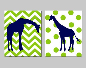 Giraffe Nursery Decor Art - Set of Two 8x10 Prints - Polka Dot Giraffe, Chevron Giraffe - CHOOSE YOUR COLORS - Shown in Navy, Apple and More