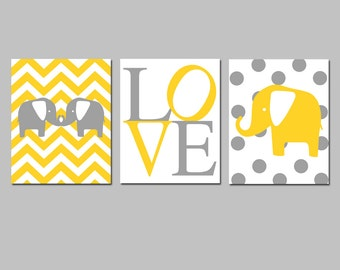 Elephant Nursery Art Trio - Set of Three 8x10 Prints - Chevron Baby Elephants, Love Typography, Polka Dot Elephant - CHOOSE YOUR COLORS