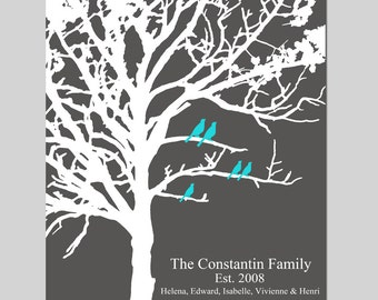 Family Tree Wedding Gift - Family Established Personalized Print - 8x10 - Birds in a Tree, Names, Home Decor - CHOOSE YOUR COLORS