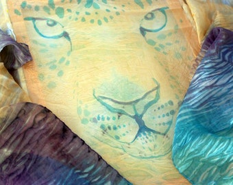 "HUGE Hand-Painted Silk Shawl & Wrap - 36''X 104"" - ""Pastel Safari ""- Soft Turquoise, Purple, Peach Colors. Stylish Gift for HER."