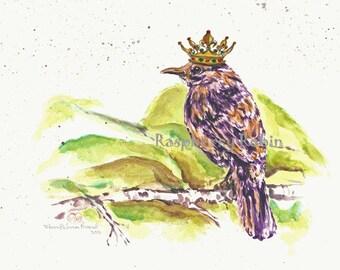 Original Bird painting, Prince William the Bird, Bird wearing crown, ooak Bird painting, whimsical Bird art, King crown, Prince crown