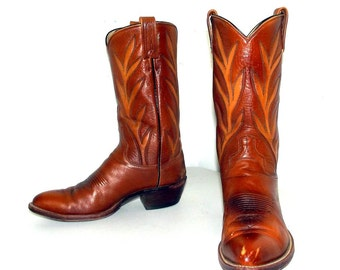 Amazing Vintage Brown leather cowboy boots size 9.5 D or cowgirl size 11