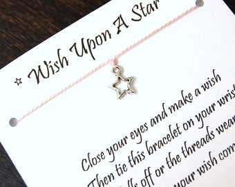 Wish Upon A Star - Open Star Charm - Wish Bracelet - Shown In PINK CHAMPAGNE - Over 100 Different Colors Are Also Available