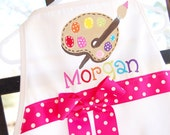 Personalized child's apron with artist paint palette, fits approximately 1 to 6 years, perfect for a painting party or art party