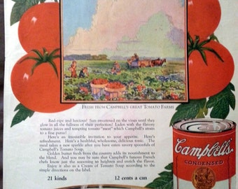 1926 Campbell's Tomato Soup Ad Stunning Color Artwork