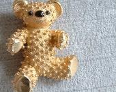 Adorable Vintage Signed Boucher Teddy Bear Figural Brooch, 8091P