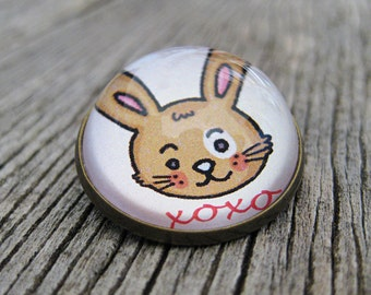 XOXO Bunny Glass Brooch - Round bronze brooch with hugs and kisses rabbit