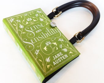 Sense and Sensibility Book Purse - Jane Austen Book Purse - Springtime Book Clutch - Bookish Theme Book Cover Handbag