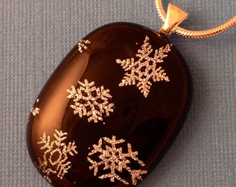 Shimmer - Snowflakes Dichroic Glass Pendant Necklace