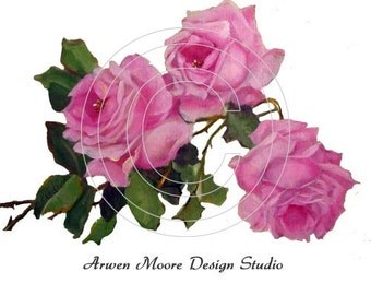 Beautiful Vintage Chic Shabby Pink Painted Roses Waterslide Water Slide Decals Miniature ro-145