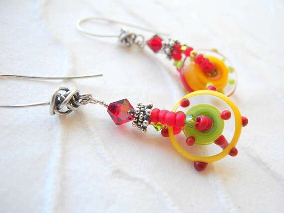 Red Green Yellow Long Earrings Lampwork Glass Oxidized Sterling Silver Swarovski Crystals