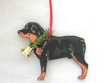 Hand-Painted ROTTWEILER Wood Christmas Ornament Artist Original....choose pine or candy cane