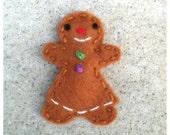 Felt Hair Clip Gingerbread Girl, Girls Hair Clip, Baby Hair Clip, Gingerbready Boy Hair Clip