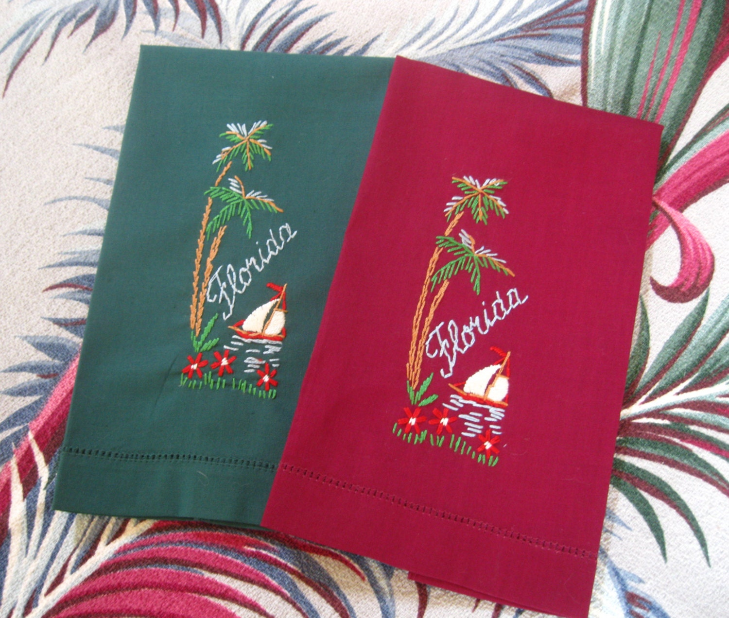 Tea Towels Myer: Vintage Florida Souvenir Guest Towels Hand Towels By