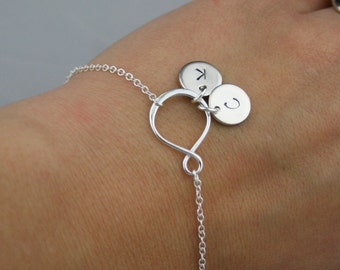 Sterling Silver Infinity Initial Bracelet - Personalized Bracelet, Infinity Bracelet in Sterling Silver