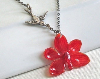 Real Mini Orchid Necklace - Red, Natural Preserved, Sterling Silver