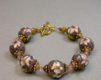 Vintage Chinese Cloisonne Purple Bead Pink Flowers Bracelet, Swarovski Pink Crystal, Gold Bead Caps - GIFT WRAPPED BRACELET