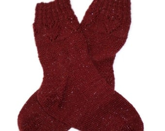 Socks - Hand Knit Women's Red Heart Socks with Metallic Thread - Size 6.5-8