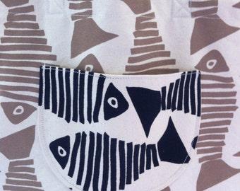 Tote Bag Canvas Nautical Fish Black Tan Fish Canvas Ready to Ship