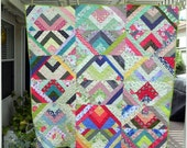 Fun Giant Half Square Triangle Colorful Patchwork Quilt