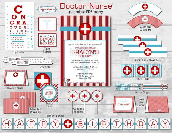 Doctor Nurse Party Package Birthday or by xxPepperAvenuexx