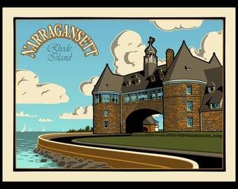 Narragansett Travel - The Towers silkscreen print