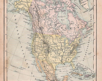 1874 Map of North America and Africa In German Language