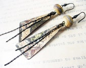 Soil and Seed. Rustic Gypsy salvaged tin earrings with ivory lampwork.