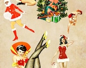 Christmas pin up girls clip art png collage sheet holidays santas suit tree presents