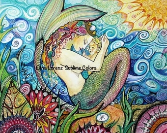 Mama Mermaid with a baby / nursery decor / fantasy art / fish / sea / room decor / wall art