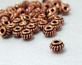 5.5x4mm - Genuine Antiqued Copper Coiled Rondelles - 20 Beads