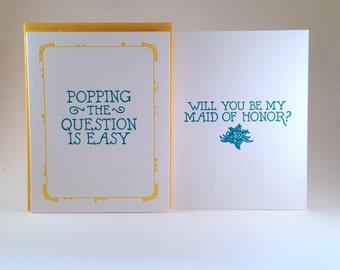 Will You Be My Maid of Honor Letterpressed Card (individual card)