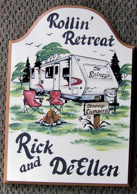 Travel Trailer RV Camper PERSONALIZED Camping Sign