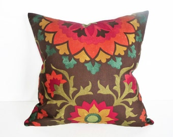 Spicy Suzani Pillow Covers, Colorful Throw Pillows, Brown Orange Red, Vibrant Earthy Cushions, 14x20, 14x24, 16x26, 16x16, 18x18, 20x20