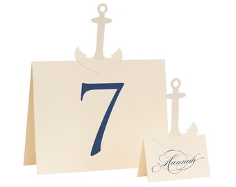 Anchor Table Numbers - cream, ivory, white, wedding, shower, beach, navy, marine, naval, aquatic, nautical, oceanic, saltwater, sea, classic
