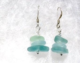 Genuine Sea Glass Earrings -sMALL eARRINGS-  Rare Sea Glass- AQUA
