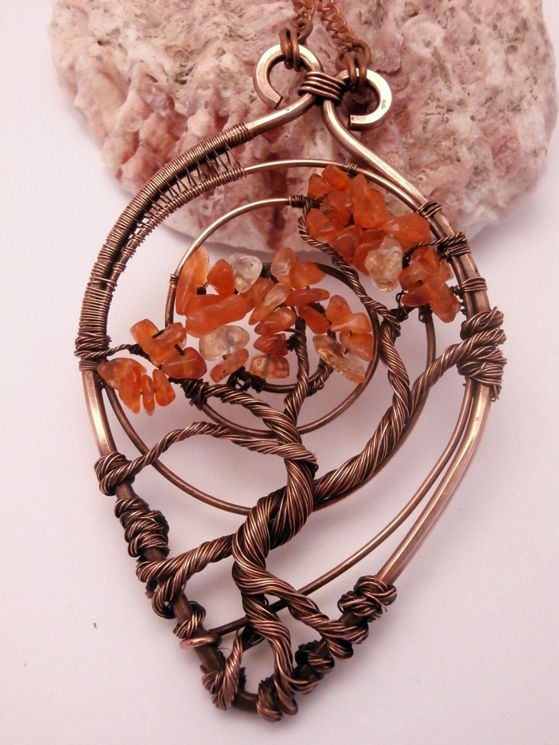 Wire Wrapped Tree Of Life Pendant Necklace Carnelian Bonsai